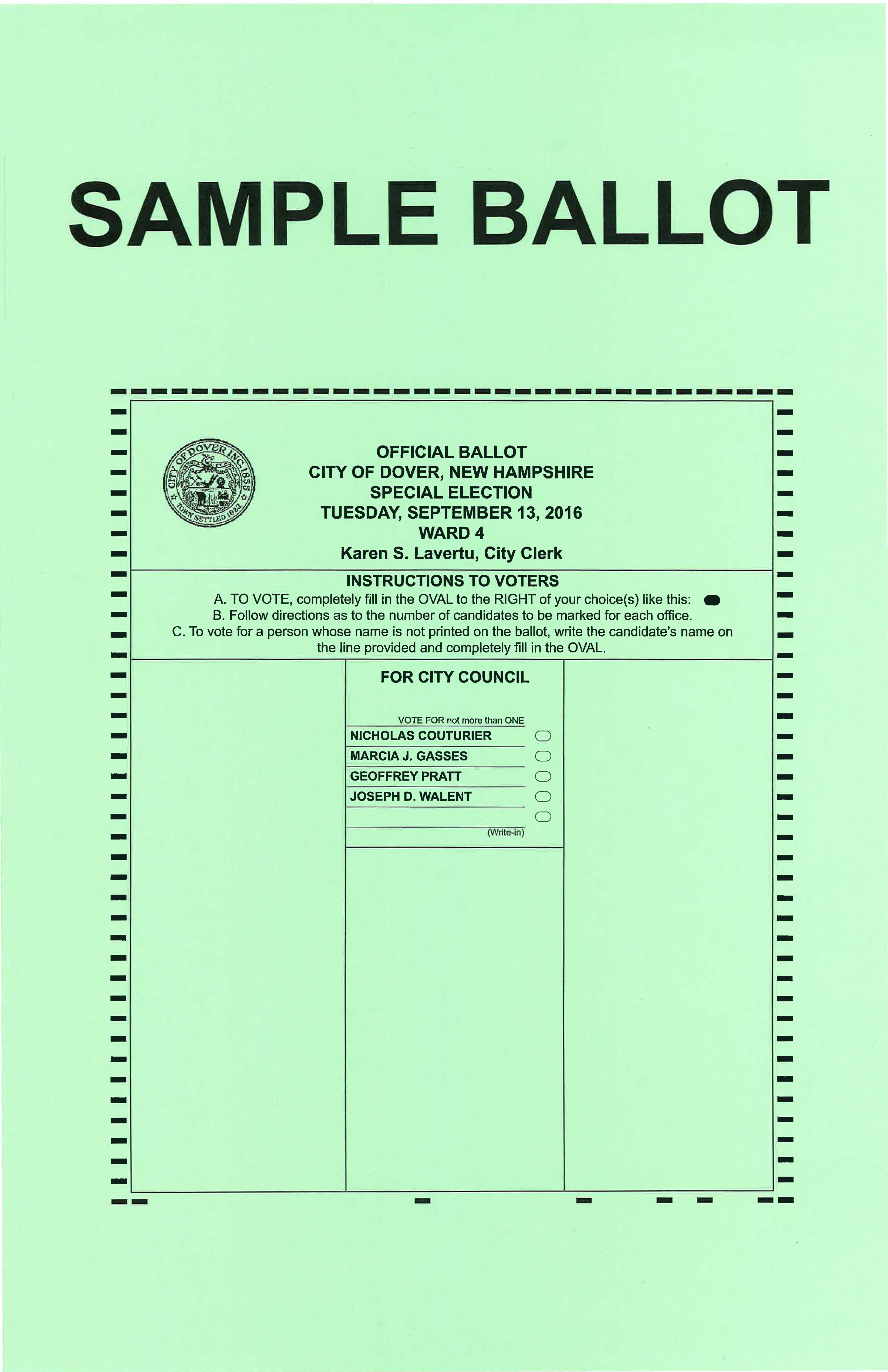 Ward 4 2016 Special Election Sample Ballot